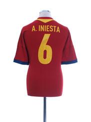 2012-13 Spain Home Shirt A. Iniesta #6 L