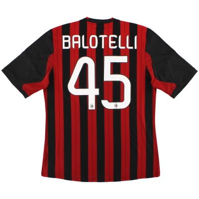 2013-14 AC Milan adidas Home Shirt Balotelli #45 L