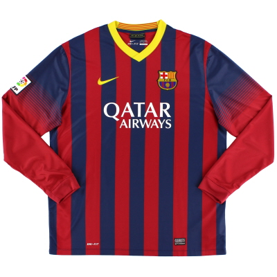 2013-14 Barcelona Home Shirt L/S *Mint* XL