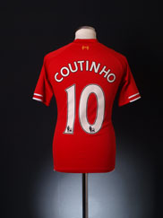 2013-14 Liverpool Home Shirt Coutinho #10 *Mint* S