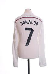 2014-15 Real Madrid Home Shirt Ronaldo #7 L/S *Mint* XL
