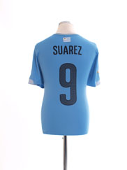 2014-15 Uruguay Home Shirt Suarez #9 *Mint* L