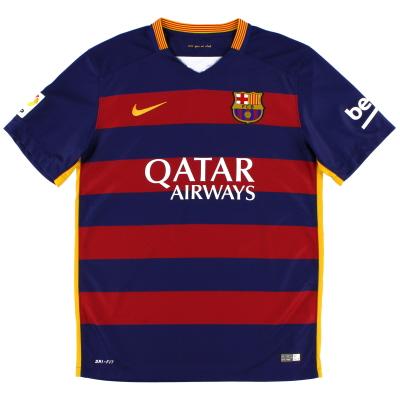 2015-16 Barcelona Nike Home Shirt L.Boys