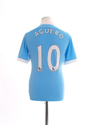 2015-16 Manchester City Home Shirt Aguero #10 S